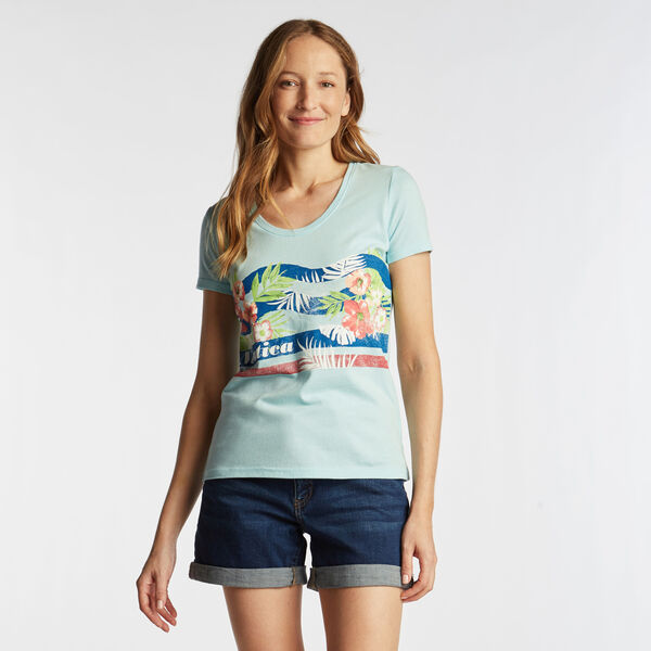 SCOOP NECK T-SHIRT IN FLORAL GRAPHIC - Aqua Splash
