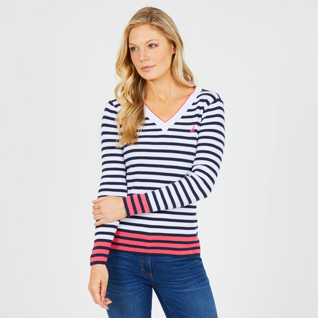 Striped V-neck Pullover Sweater,Deep Sea,large