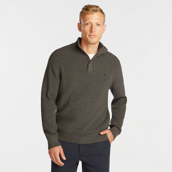 BUTTON MOCK NECK SWEATER - Charcoal Heather