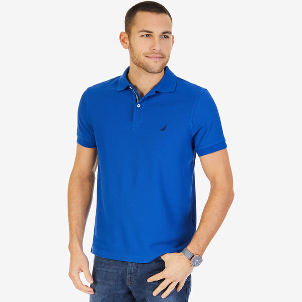 Short Sleeve Slim Fit Performance Tech Polo Shirt - Monaco Blue