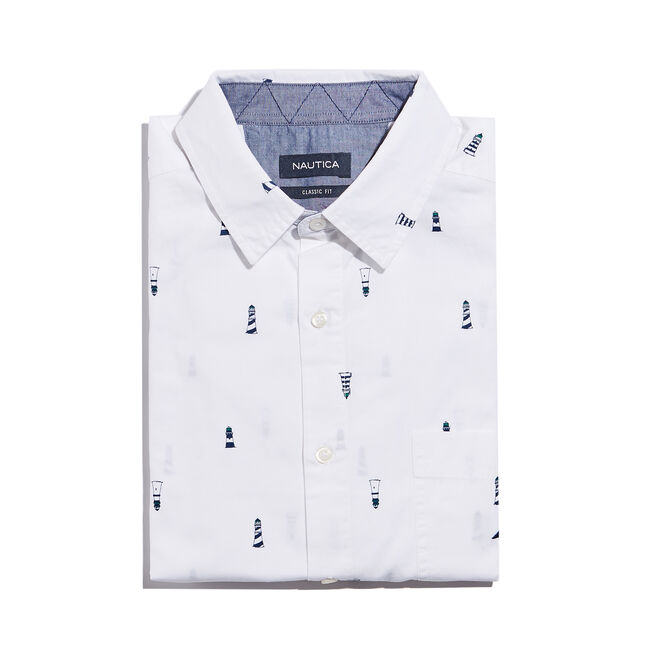 CLASSIC FIT POPLIN SHIRT IN LIGHTHOUSE PRINT,Bright White,large