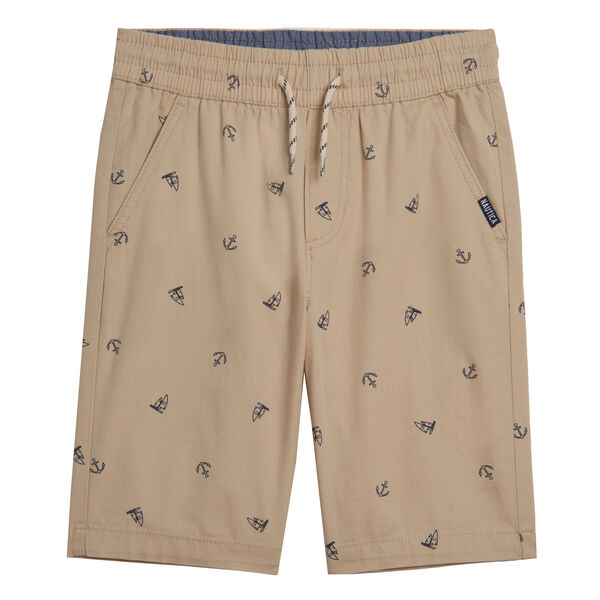 BOYS' ANCHOR PRINT PULL ON SHORT (8-20) - Oyster Bay Heather