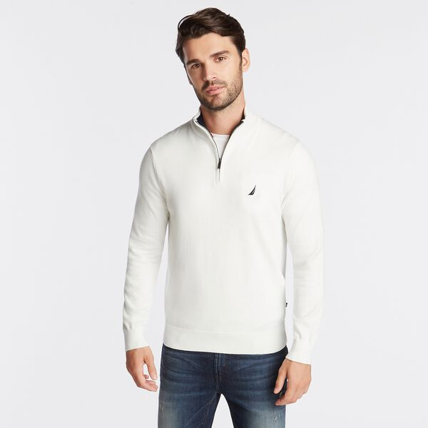 QUARTER ZIP NAVTECH SWEATER - Marshmallow