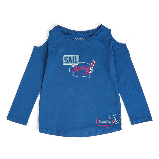 Girls' Sail Away Long Sleeve Graphic Tee,Admiral Blue,large
