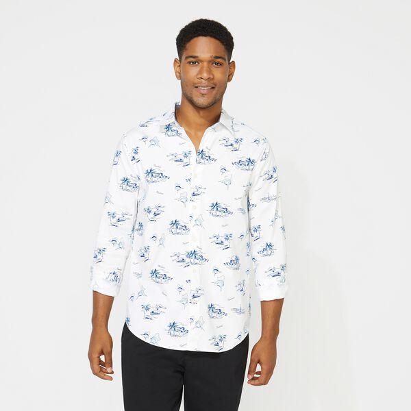 CLASSIC FIT LONG SLEEVE CITY ON BEACH PRINT SHIRT - Bright White