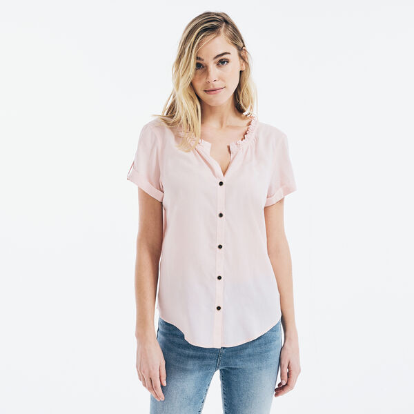 SUSTAINABLY CRAFTED RUFFLED-COLLAR BUTTON-DOWN TOP - New Pink