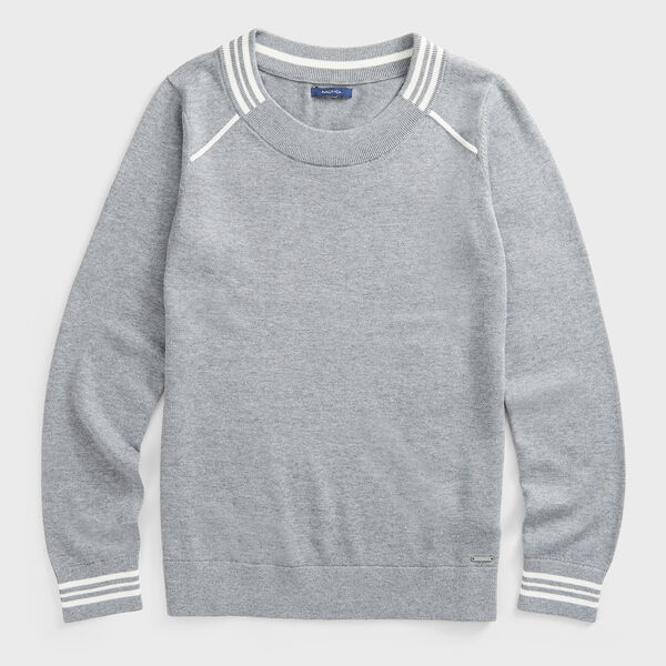 SUSTAINABLY CRAFTED STRIPE TRIM SWEATER - Quarry Heather