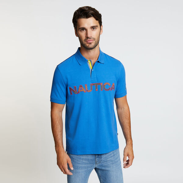 Kauai Short Sleeve Logo Classic Fit Polo - Bolt Blue
