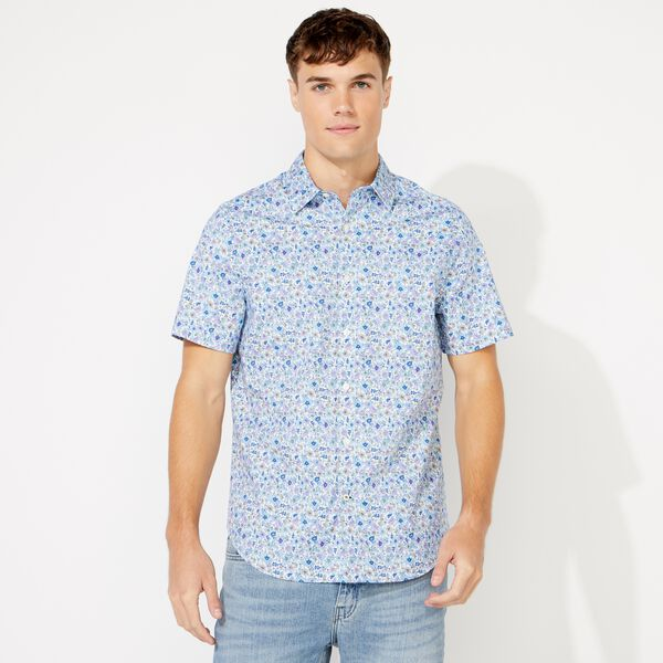 FLORAL PRINT SHORT SLEEVE SHIRT - Bright White