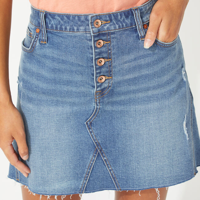 online retailer where to buy new lower prices NAUTICA JEANS CO. BUTTON FLY DENIM SKIRT