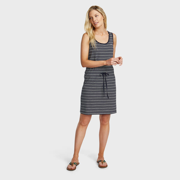 Jersey Tank Dress in Admiral Stripe - Stellar Blue Heather