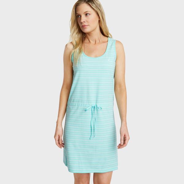 Jersey Tank Dress in Admiral Stripe - Capri Blue