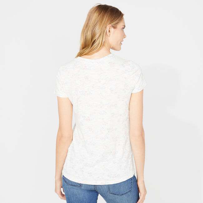 FLORAL REVERSE PRINT TEE,Bright White,large