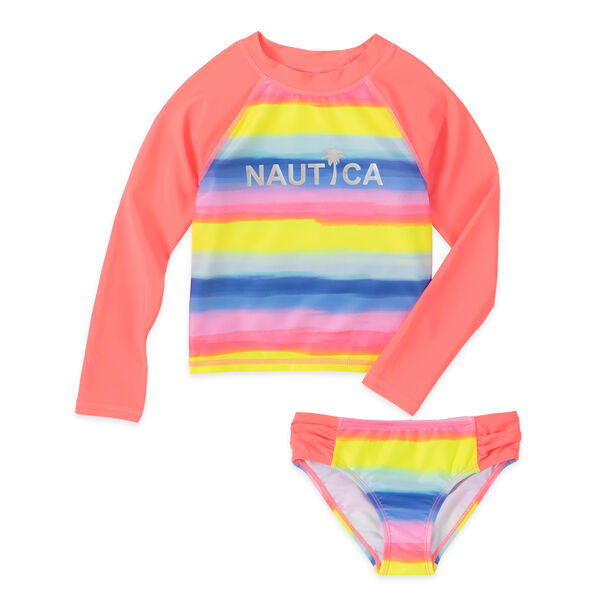 LITTLE GIRLS' OMBRE STRIPED RASHGUARD SET (4-7) - Biking Red