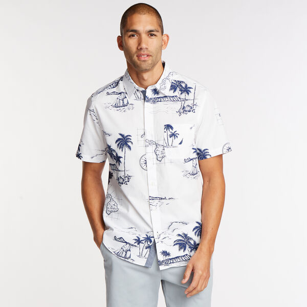Short Sleeve Classic Fit Shirt in Sail Print - Bright White