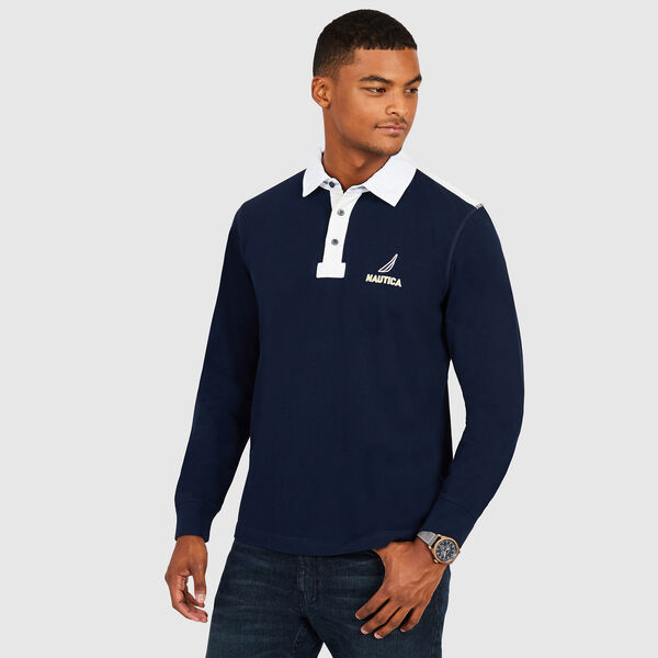 Chest Logo Classic Fit Long Sleeve Polo - Navy