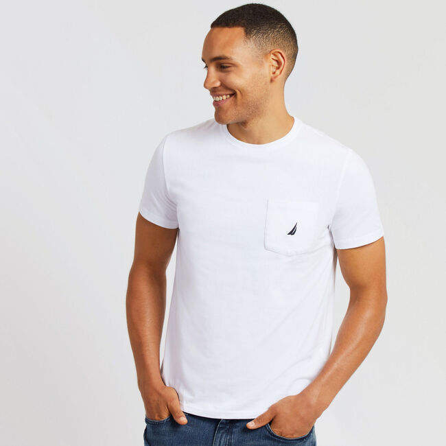 8ac4363a4 Short Sleeve Solid Pocket T-Shirt,Bright White,large