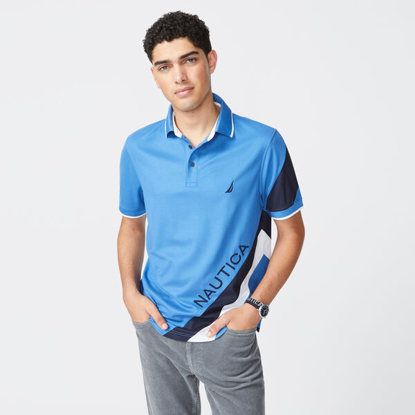 NAVTECH STRIPE AND LOGO GRAPHIC POLO - Nite Sea Heather