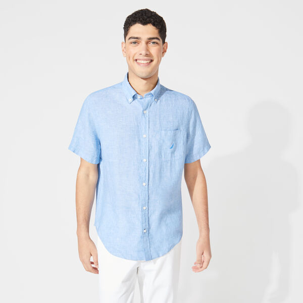 CLASSIC FIT SHORT SLEEVE LINEN SHIRT - Clear Sky Blue