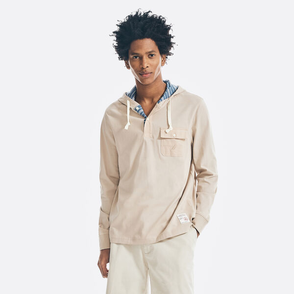 PARTIAL BUTTON POCKET HOODED T-SHIRT - Oxford Tan