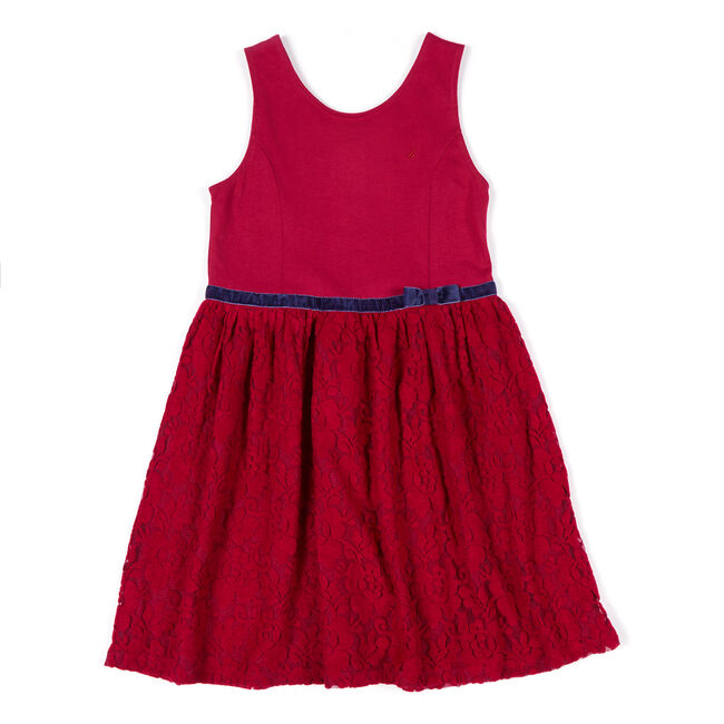 Toddler Girls' Lace Dress with Velvet Trim (2T-4T),Tango Red,large