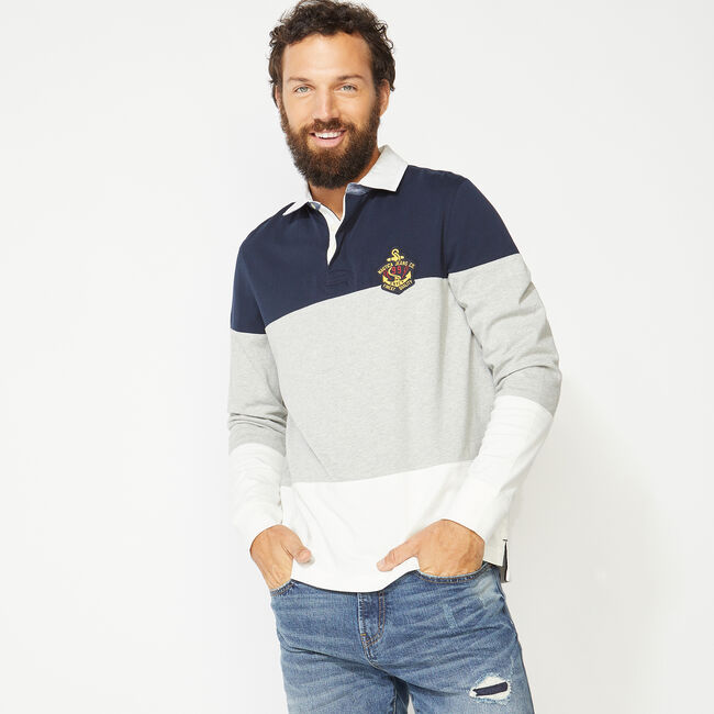 NAUTICA JEANS CO. COLORBLOCK LONG SLEEVE RUGBY,Navy,large