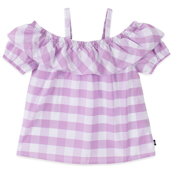 GIRLS' GINGHAM COLD SHOULDER TOP (8-20) - Thistle