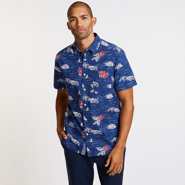 Short Sleeve Floral Classic Fit Shirt,J Navy,large