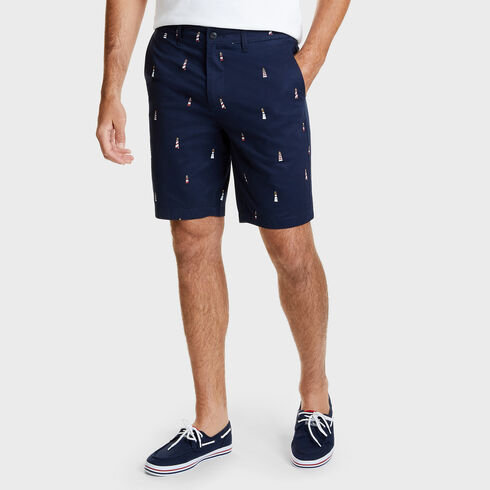 "Lighthouse Slim Fit Flat Front Shorts - 9.5"" Inseam - Navy"