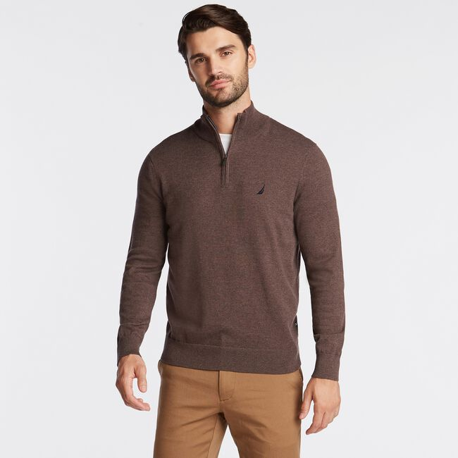 QUARTER ZIP NAVTECH SWEATER,Sable Heather,large