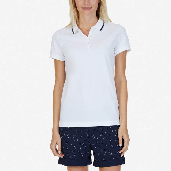 Classic Fit Polo with Tipped Collar - Bright White