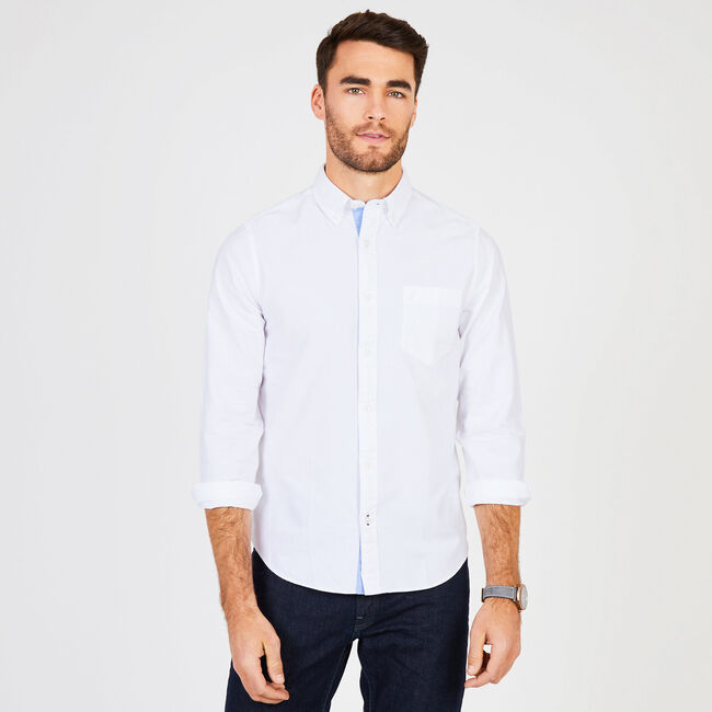 Solid Oxford Long Sleeve Slim Fit Button Down,Bright White,large