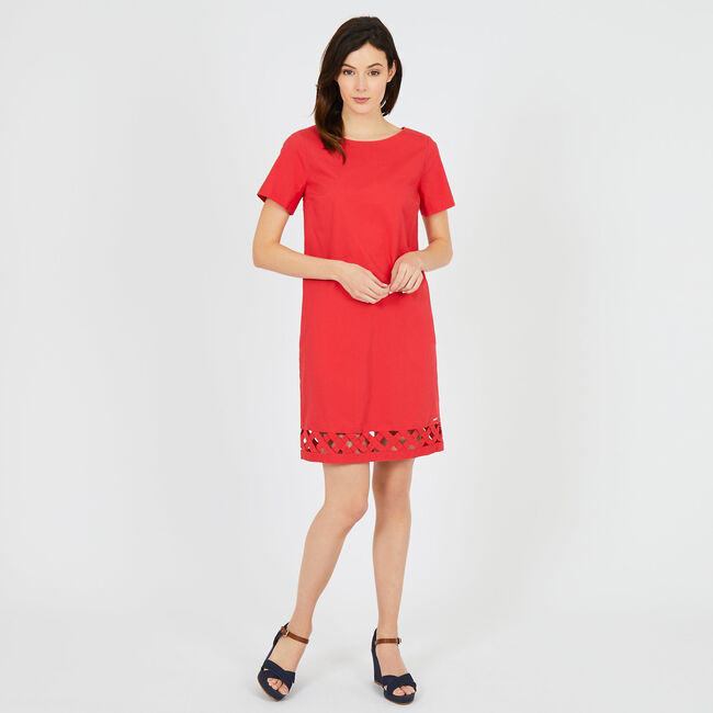 Sheath Dress with Lattice Trim,Buoy Red,large