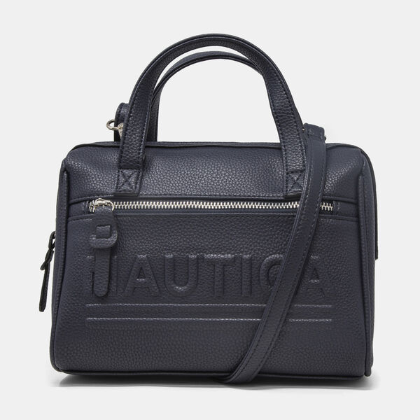 LOGO-EMBOSSED PEBBLED SATCHEL - Navy