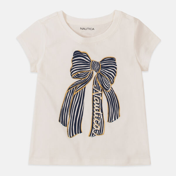 LITTLE GIRLS' BOW GRAPHIC T-SHIRT (4-7) - White