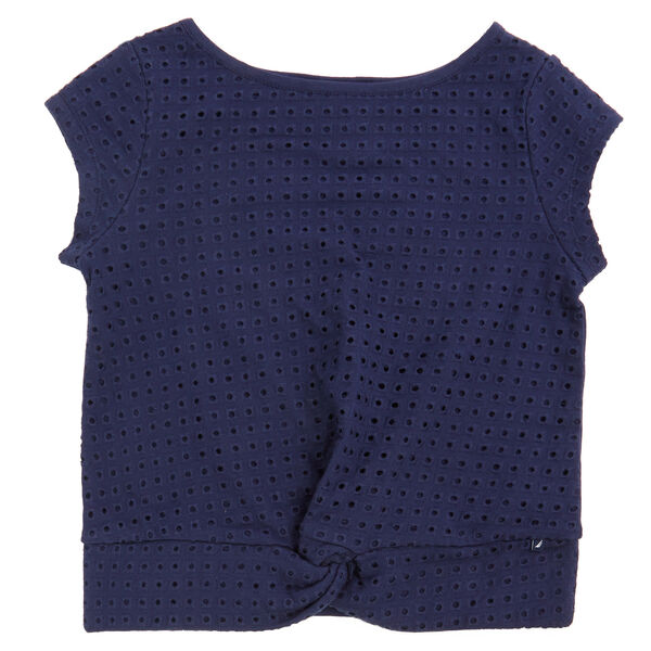 Little Girls' Eyelet Top (2T-7) - Navy