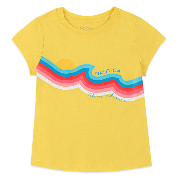 GIRLS' WAVE STRIPE GRAPHIC T-SHIRT (8-20) - Yellow Zest