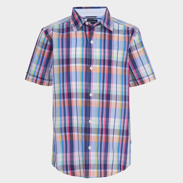 BOYS' MULTICOLOR PLAID BUTTON-DOWN SHIRT (8-20) - Clear Sky Blue