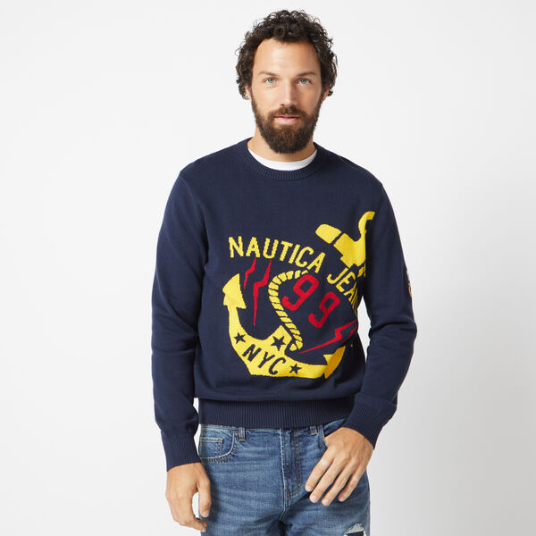 NAUTICA JEANS CO. INTARSIA GRAPHIC SWEATER - Navy