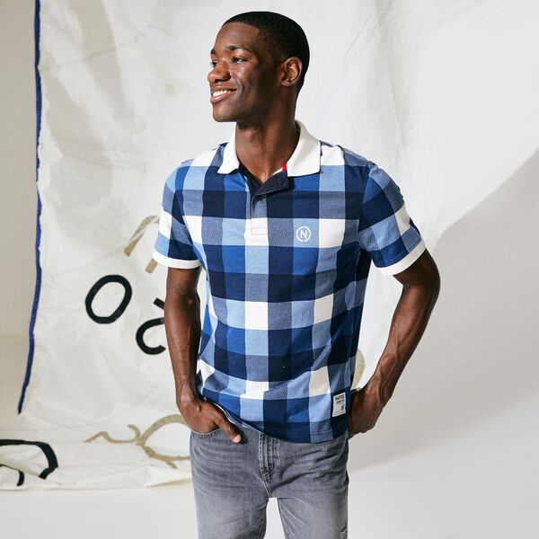 NAUTICA JEANS CO. OVERSIZED GINGHAM POLO - Navy