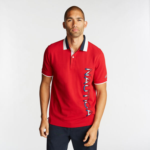 CLASSIC FIT POLO IN COLORBLOCK - Nautica Red