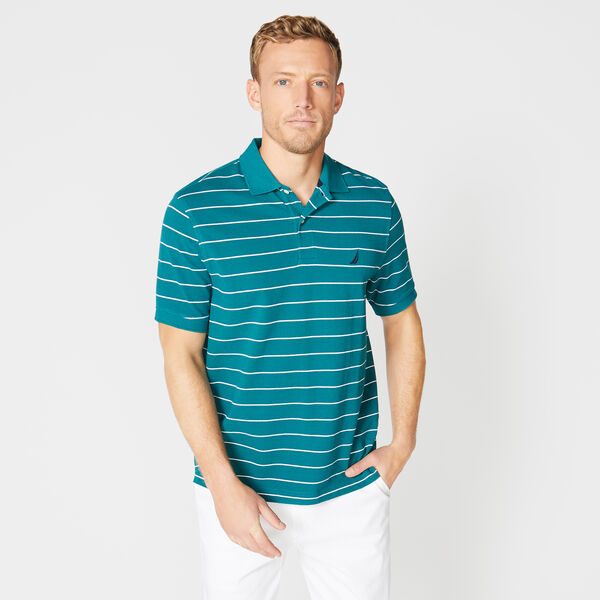 Classic Fit Mesh Polo in Breton Stripe - Sage