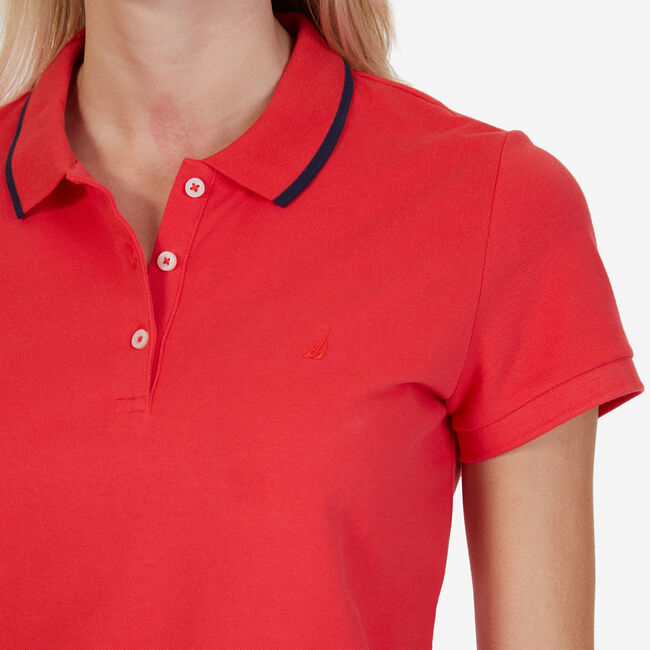 Classic Fit Polo with Tipped Collar,Tomales Red,large