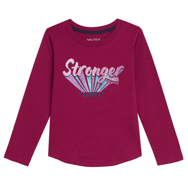 TODDLER GIRLS' STRONGER THAN EVER LONG-SLEEVE T-SHIRT (2T-4T) - Dusty Pink