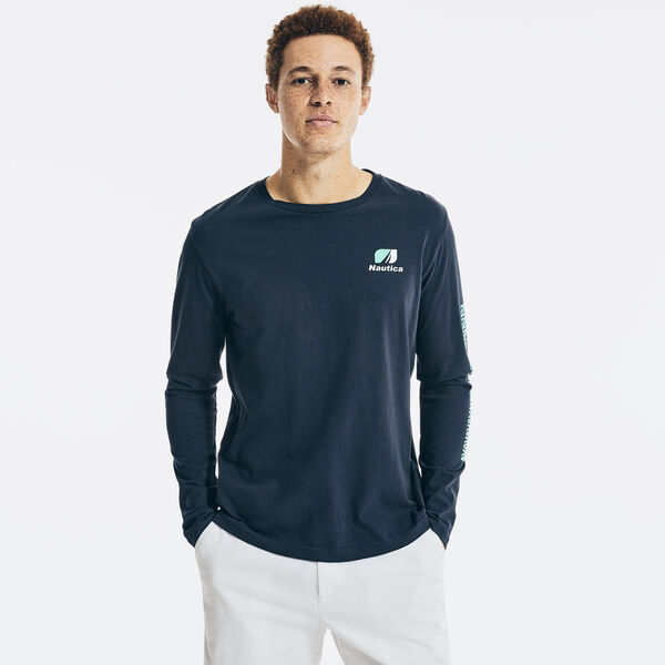 JET ENGINE GRAPHIC LONG SLEEVE T-SHIRT - Navy