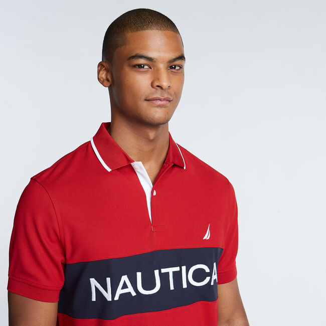 Classic Fit Colorblock Performance Polo,Nautica Red,large