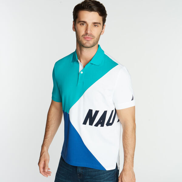 CLASSIC FIT JERSEY POLO IN DIAGONAL COLORBLOCK - Gulf Coast Teal