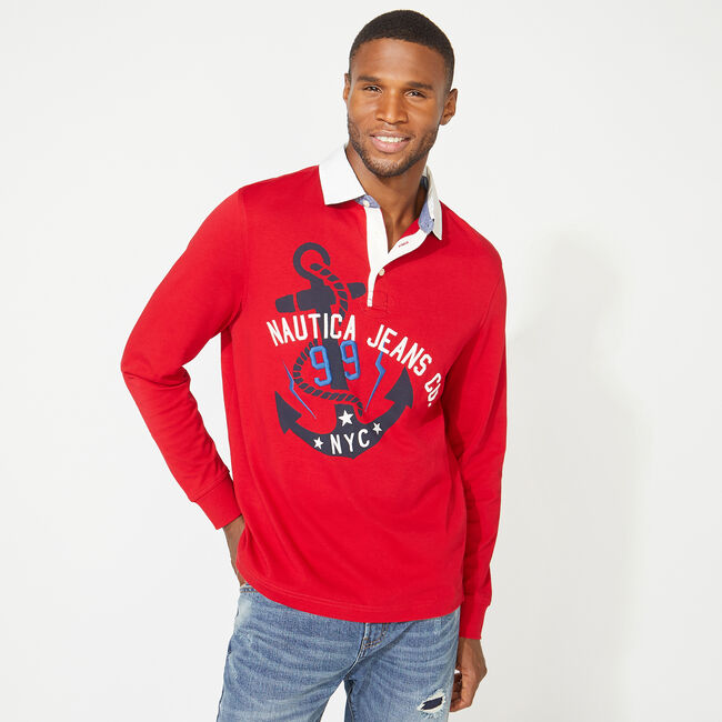 NAUTICA JEANS CO. ANCHOR GRAPHIC LONG SLEEVE RUGBY,Nautica Red,large