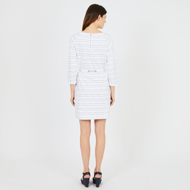 Striped Raglan Sleeve Dress with Rope Belt,Bright White,large