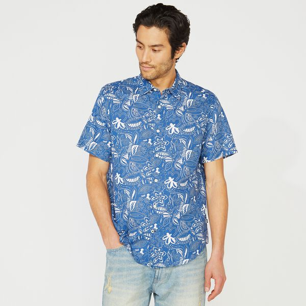 FLORAL PRINT LINEN SHORT SLEEVE SHIRT - Limoges